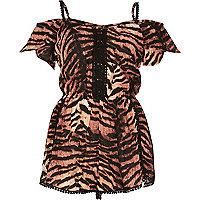 Brown tiger print bardot playsuit