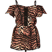 Brown tiger print bardot romper