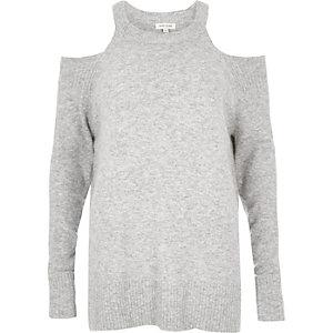 Grey knit cold shoulder jumper