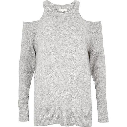 Grey knit cold shoulder sweater