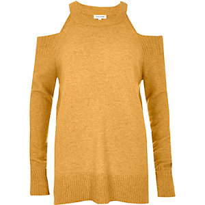 Dark yellow knit cold shoulder sweater