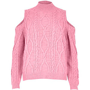 Pink cable knit cold shoulder sweater