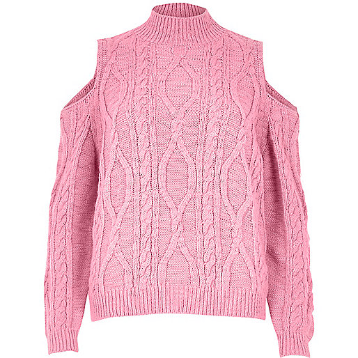 Pink cable knit cold shoulder jumper
