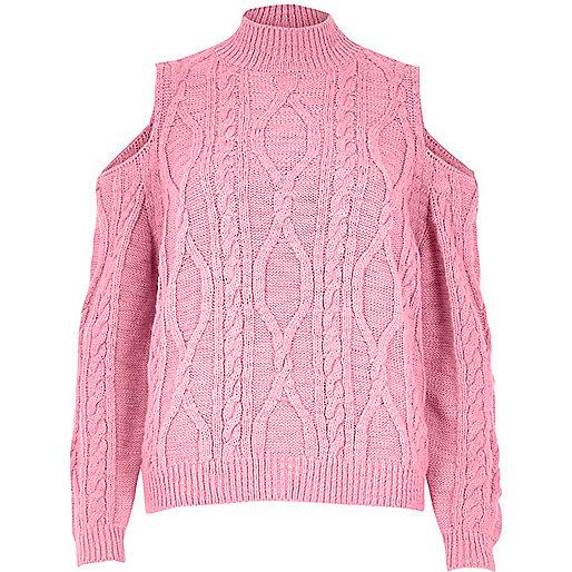 Strickpullover mit Schulterausschnitten und Zopfmuster in Pink