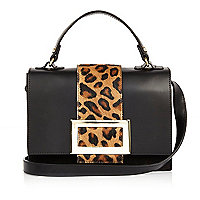Black leather animal print boxy handbag