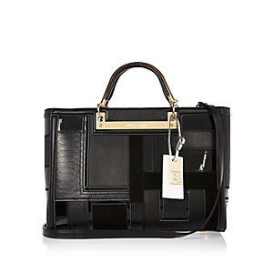Black patchwork structured tote handbag
