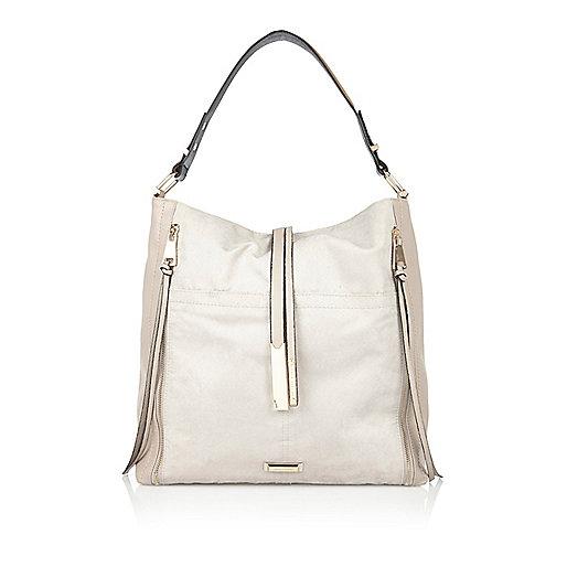 Grey oversized slouch handbag