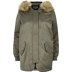 Khaki faux fur hooded parka
