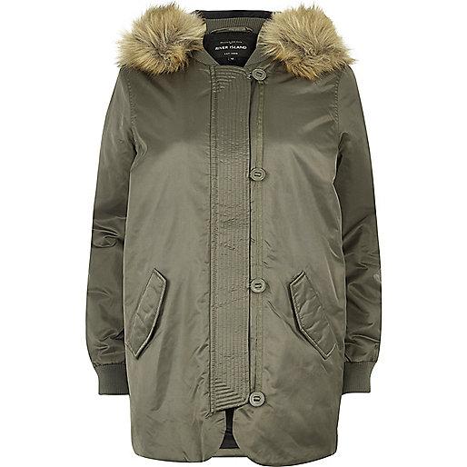 Khaki faux fur hooded parka