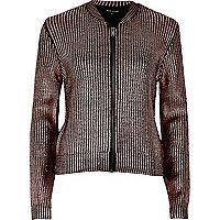 Pink metallic knit bomber jacket