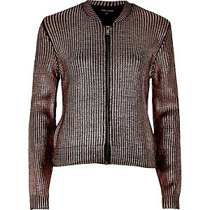 Pink metallic knit bomber jacket