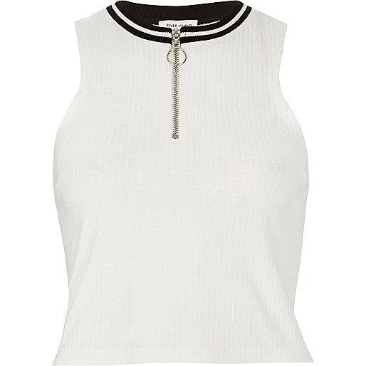 White sporty zip crop top