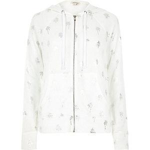 White palm tree print hoodie