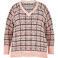 RI Plus pink checked cold shoulder sweater