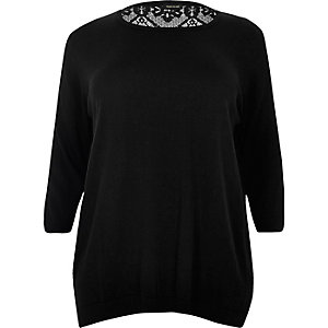 RI Plus black lace back top