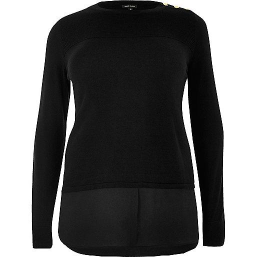 Plus – Schwarzer, doppellagiger Pullover