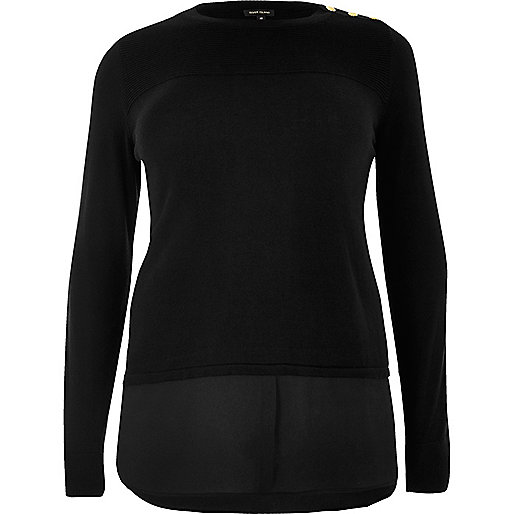 RI Plus black double layer shirt sweater
