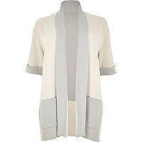 Plus cream color block cardigan