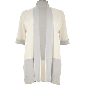 RI Plus cream color block cardigan