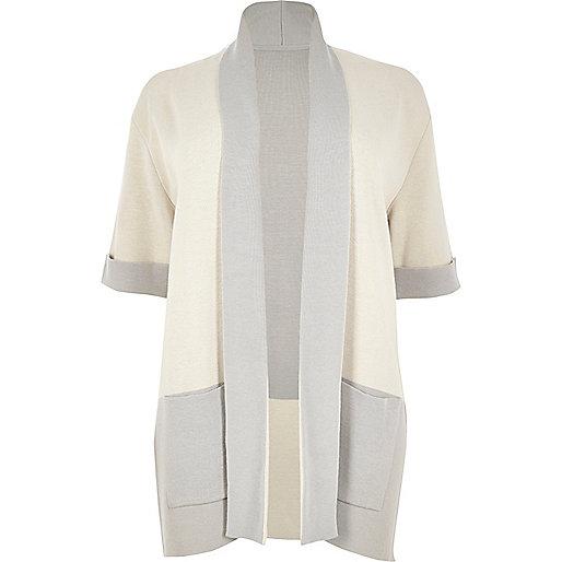 RI Plus cream colour block cardigan