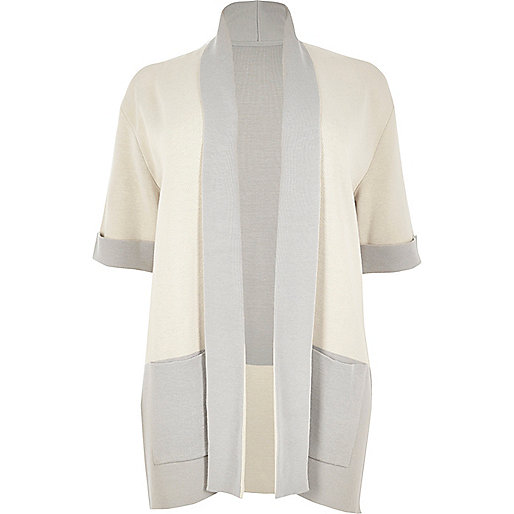 Plus cream color block cardigan