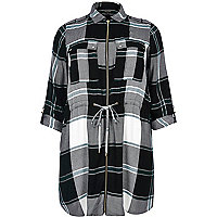 RI Plus blue check shirt dress