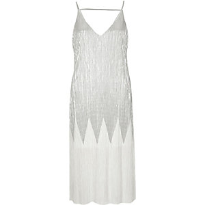 Silver metallic pleated midi dress