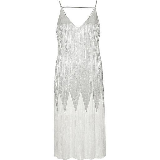 Silver metallic pleated midi dress