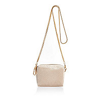 Cream embossed velvet chain handbag