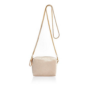 Cream embossed velvet chain bag