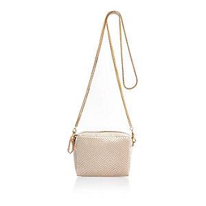 Cream embossed velvet chain bag