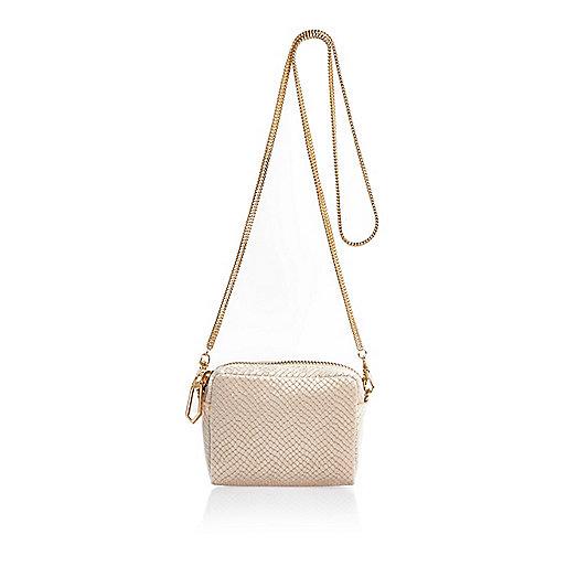 Cream embossed velvet chain handbag
