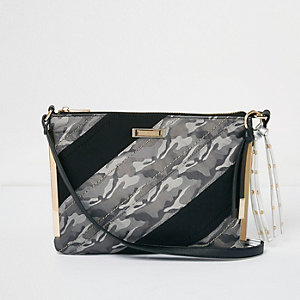 Khaki camo panel cross body bag