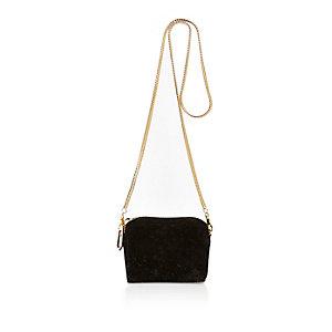 Black sequin velvet mini square handbag