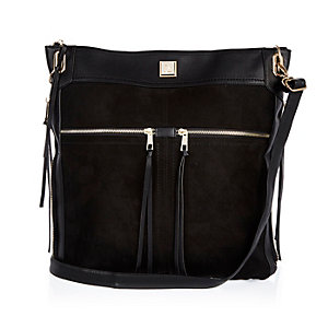Black oversized messenger handbag
