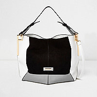 Black colour block slouch handbag