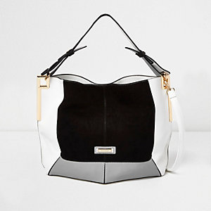 Black color block slouch bag