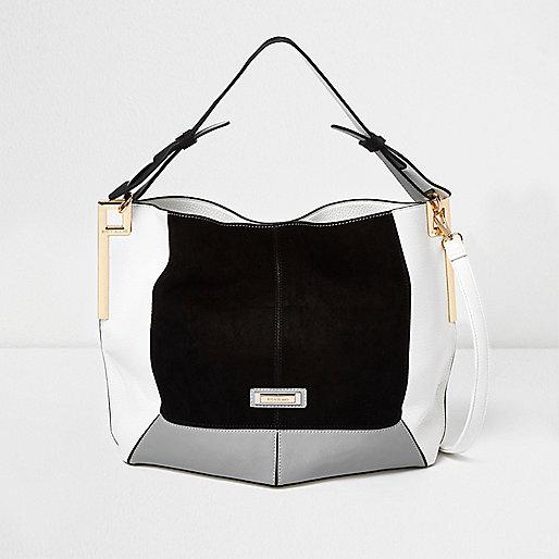 Black colour block slouch bag