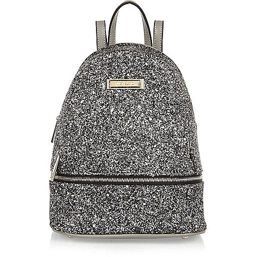 Silver glitter mini backpack