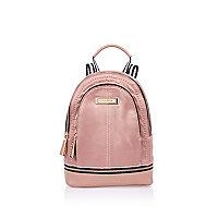 Mini sac à dos en nylon rose pâle
