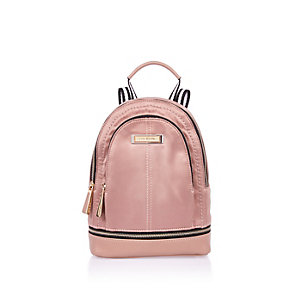 Blush pink mini nylon backpack