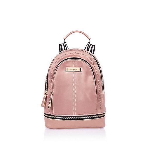Blush pink mini nylon backpack