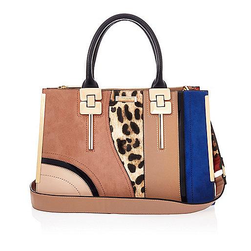 Brown patchwork tote handbag