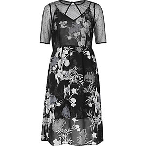 Black floral chiffon midi dress