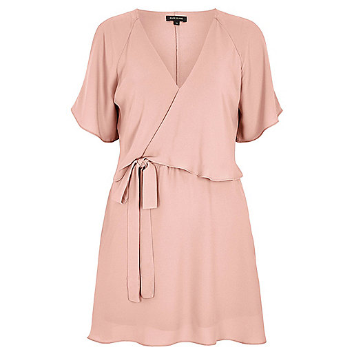 Light pink cold shoulder tea dress