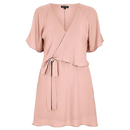 Light pink cold shoulder tea dress