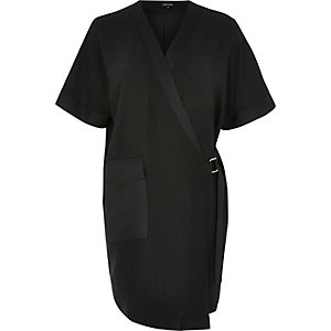 Black tux shirt dress