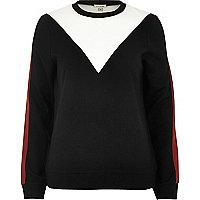 Black color block sweatshirt