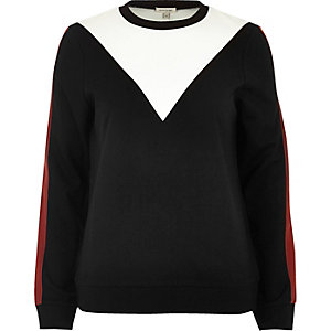 Black colour block sweatshirt