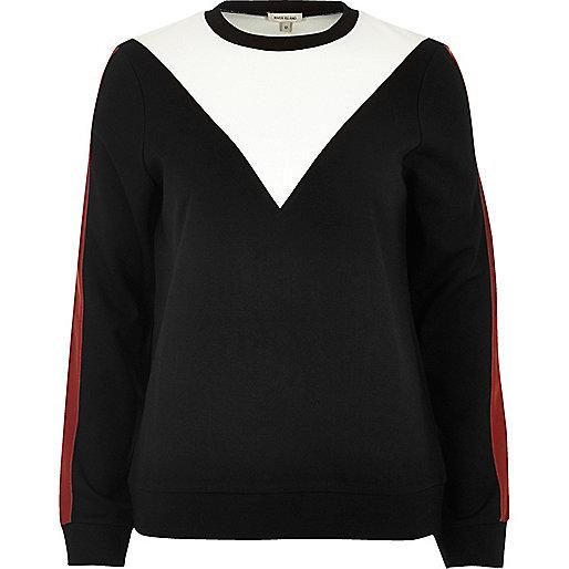 Black colour block sweatshirt